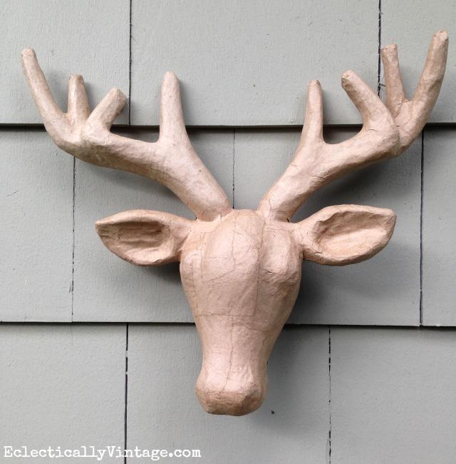 Paper mache deer head - wait until you see the after! kellyelko.com