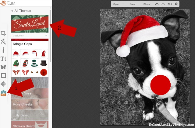 Picmonkey Tutorial - adding Christmas overlay effects to photos kellyelko.com