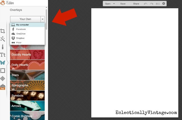 Picmonkey Tutorial using blank 8 1/2 x 11 kellyelko.com