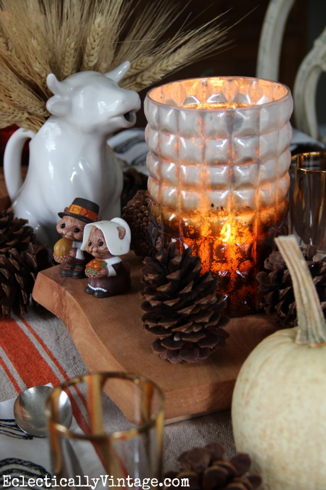 Love this rustic fall table and the old cow pitcher filled with wheat kellyelko.com