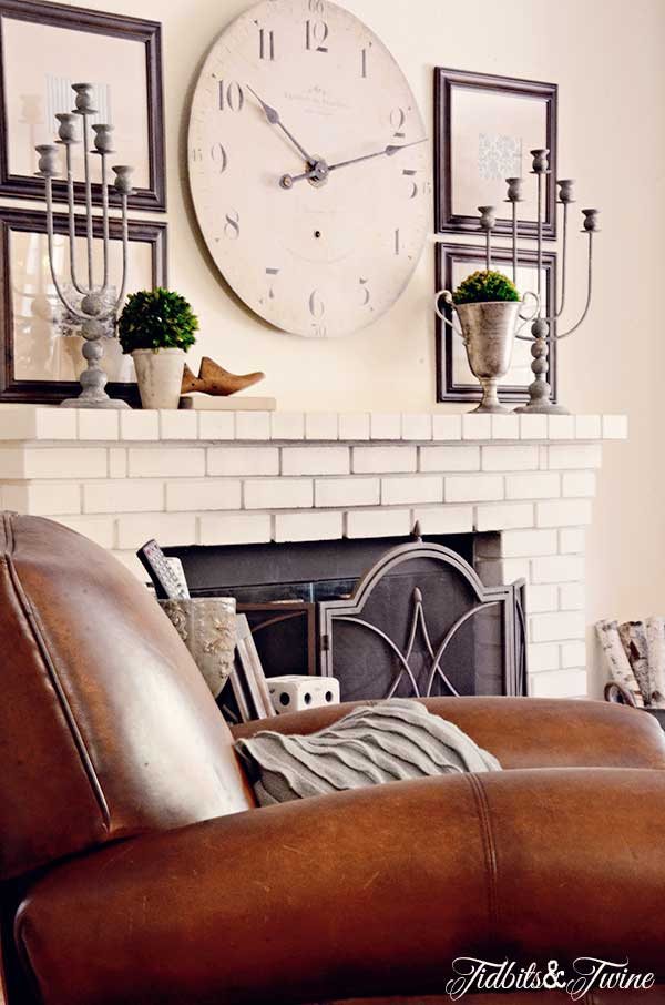 Comfortable family room - love the white brick fireplace kellyelko.com
