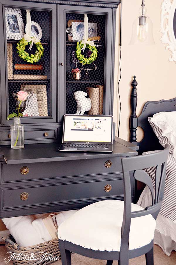 Great idea to use a hutch instead of a bedside table kellyelko.com