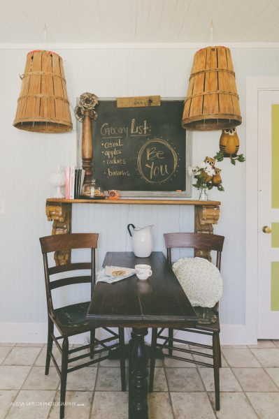 How fun are those baskets turned light fixtures! kellyelko.com