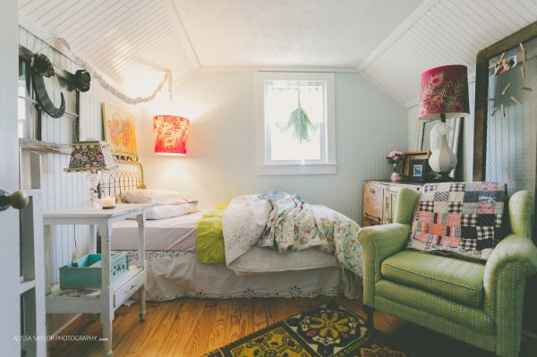 Love the white beadboard with the colorful furniture kellyelko.com