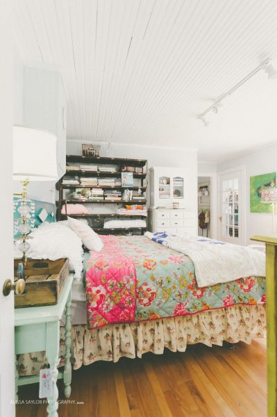 Flea market bedroom - love the mix of bedding prints and the open shelving kellyelko.com