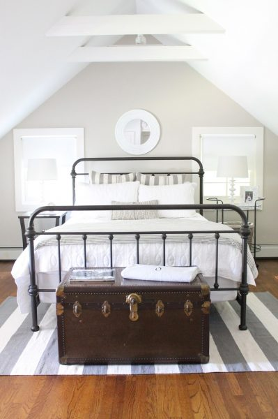 Eclectic Home Tour The Picket Fence Projects - love the iron bed in this guest bedroom kellyelko.com