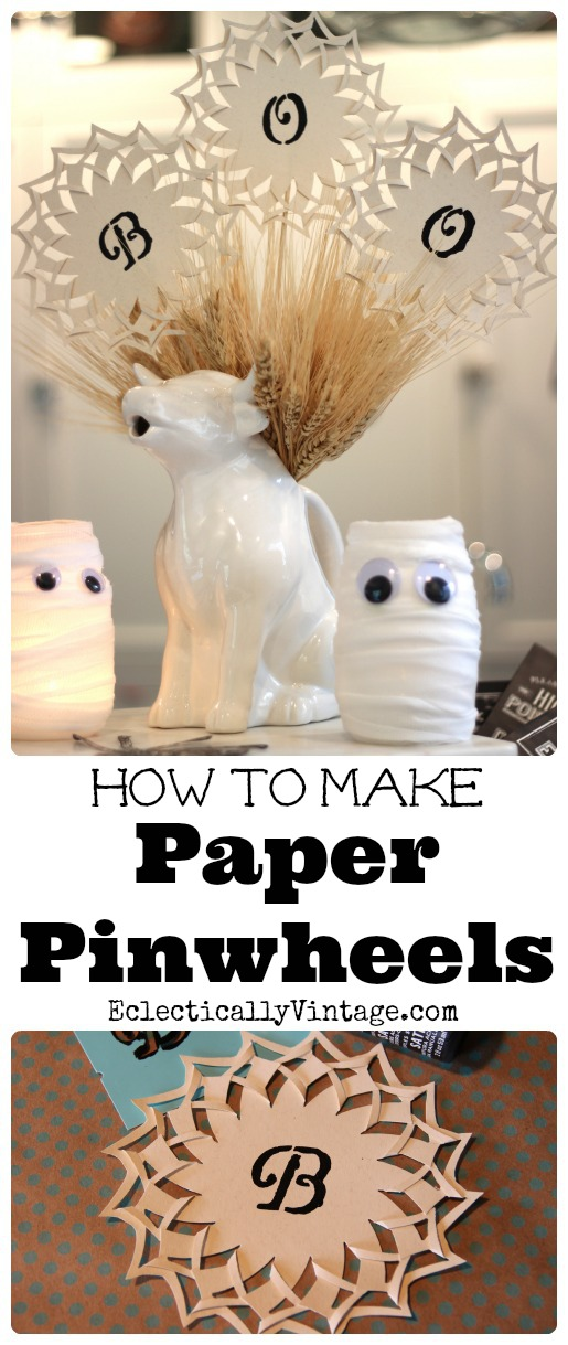 How to make paper pinwheels - these would be cute as a banner too! kellyelko.com