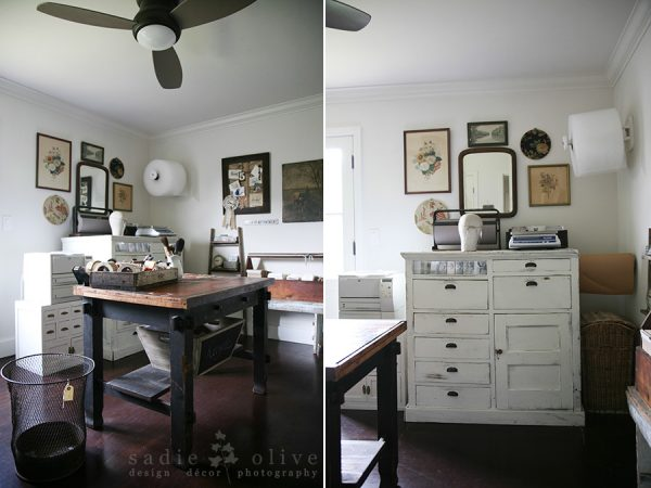 Home office filled with unique vintage collections - love the gallery wall kellyelko.com