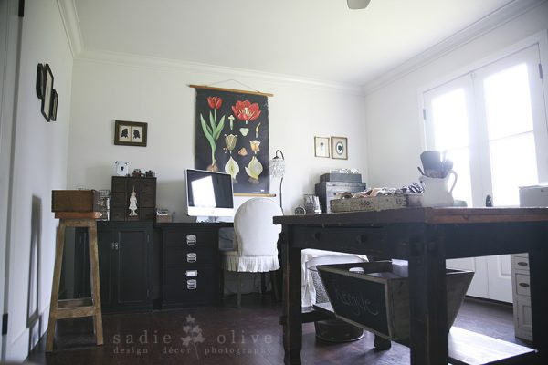 Love this vintage filled home office - that industrial desk is amazing kellyelko.com