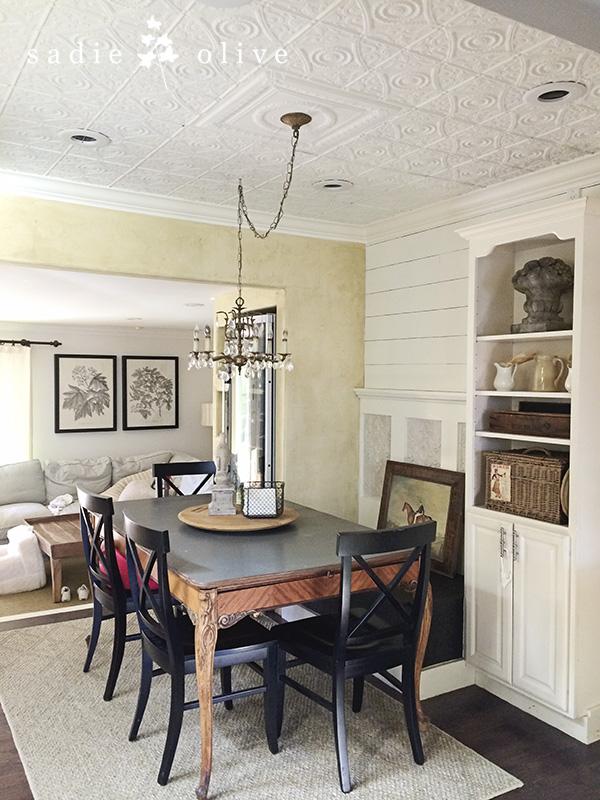 Dining room with vintage tile ceiling kellyelko.com