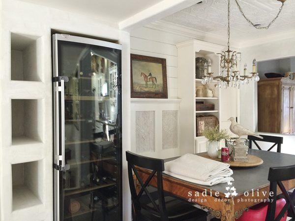 Love the wine refrigerator in the dining room! kellyelko.com