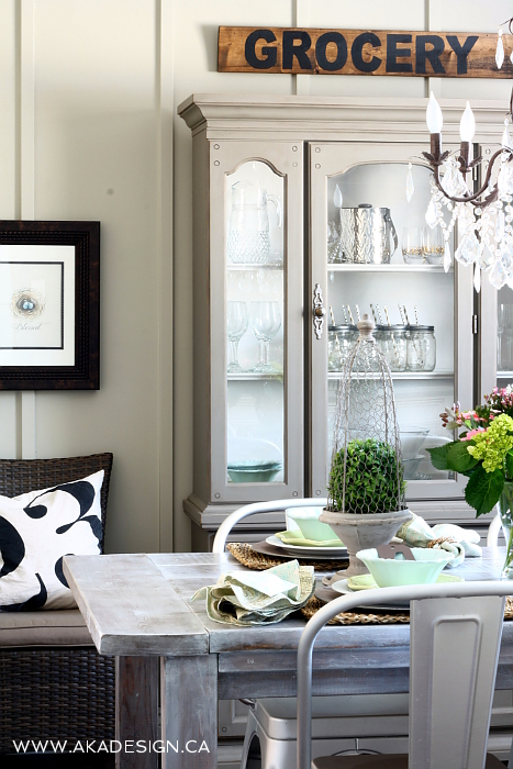 Weathered gray hutch and love the grocery sign in this dining room kellyelko.com