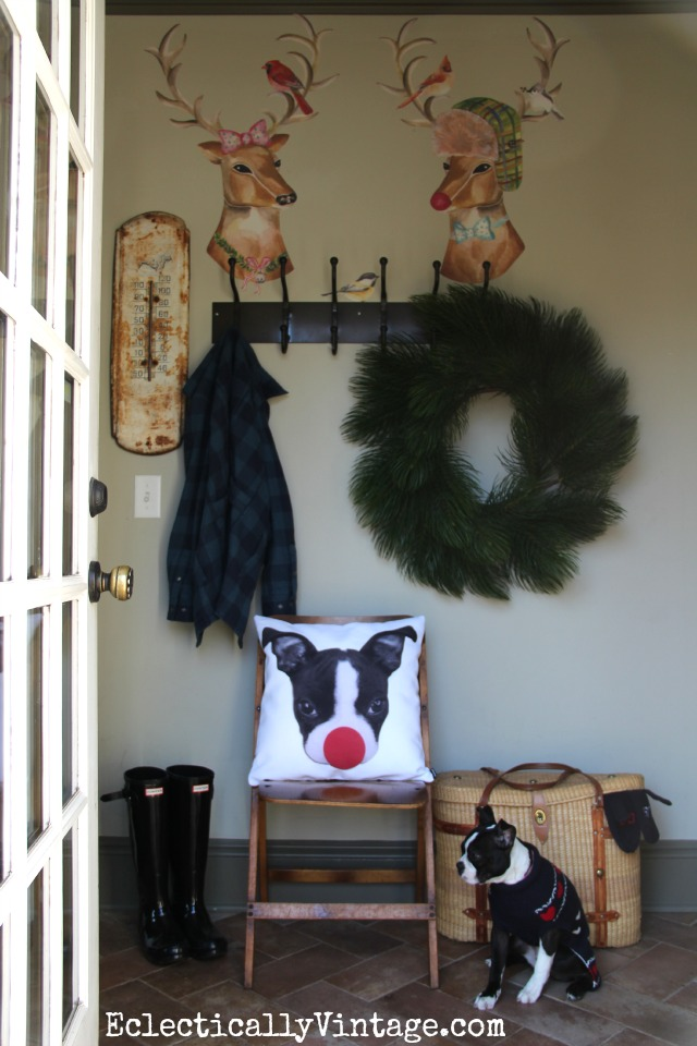Such a cute mudroom decked out for Christmas - love the reindeer couple Wallternatives  kellyelko.com
