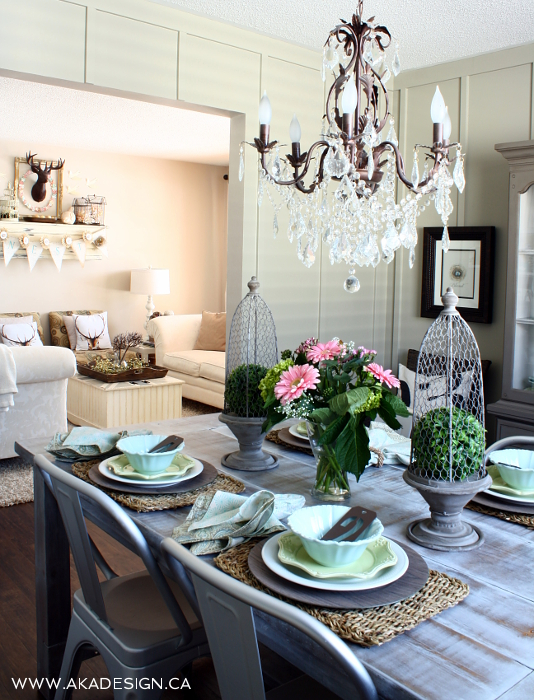 Cottage dining room - love the crystal chandelier kellyelko.com