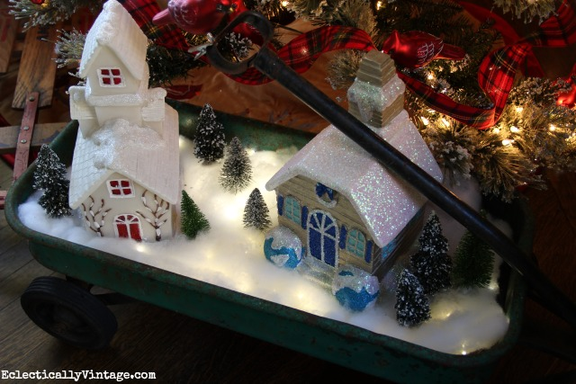 make a diy lighted christmas snow village love it in the old wagon kellyelko