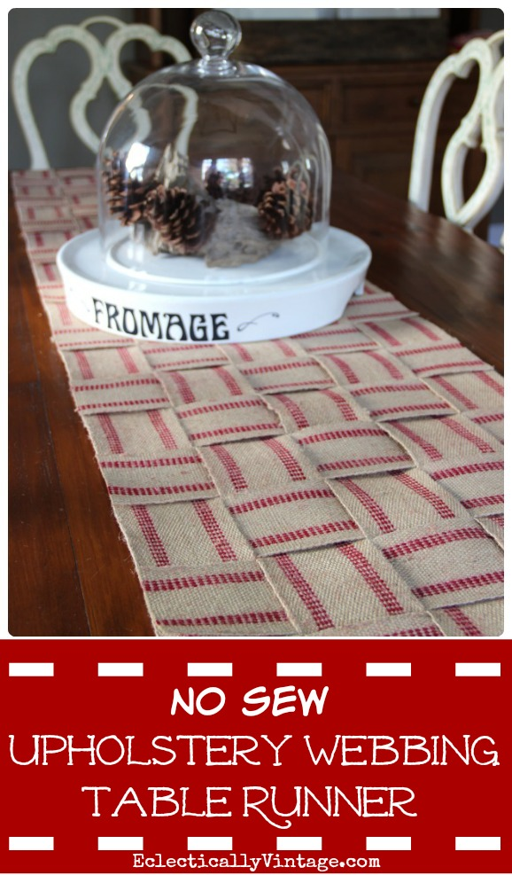How to make a no sew upholstery webbing jute table runner - I love this! kellyelko.com