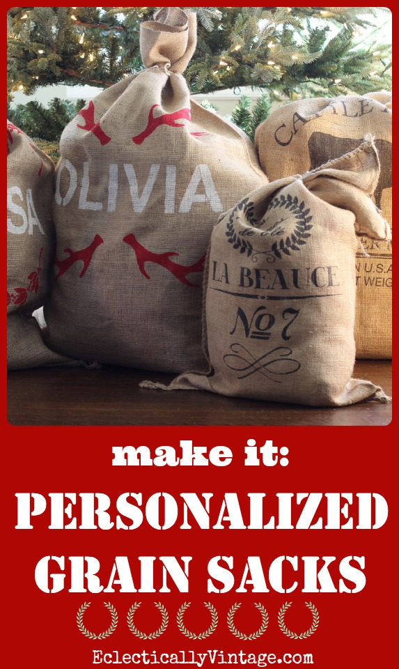 How to Make Personalized Grain Sack Crafts - perfect as Santa Sacks under the Christmas Tree kellyelko.com