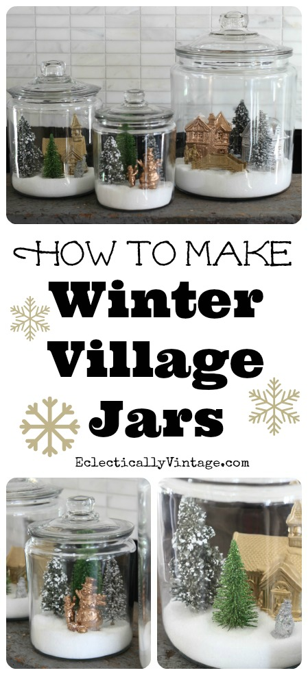 How to make winter village jars kellyelko.com