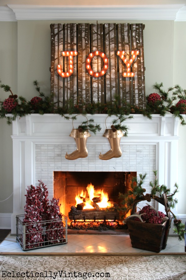 Rustic pallet wood JOY Christmas mantel - one of five creative Christmas mantels kellyelko.com