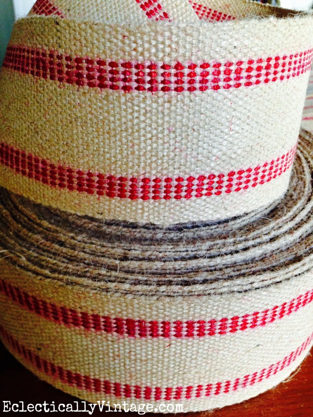 Jute Upholstery Webbing - she turned it into the coolest table runner! kellyelko.com