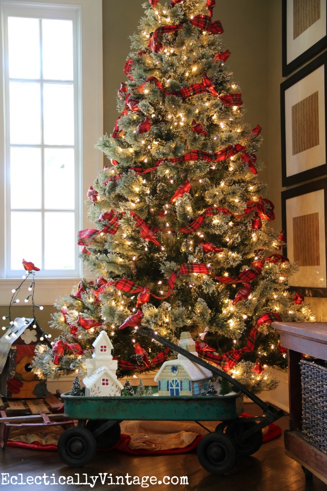 themed christmas trees love this tree with a flock of red cardinals perched in the - Red And Black Plaid Christmas Decor