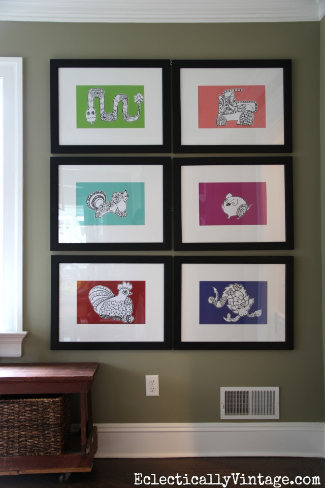 Framed Zodiac Art - these are coloring book pages! kellyelko.com