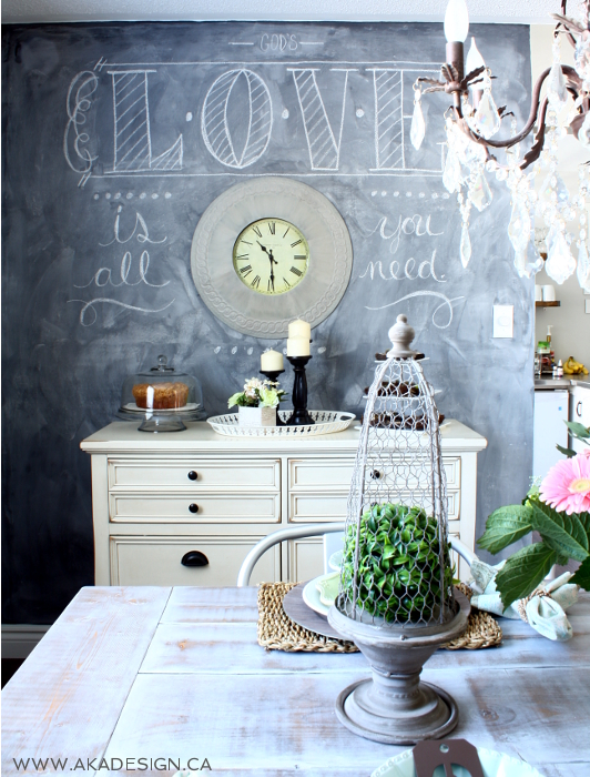 Paint a chalkboard wall in the dining room - fun to add different messages kellyelko.com
