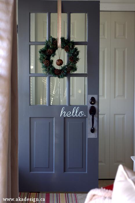 Fun front door hello sign and love the door color kellyelko.com