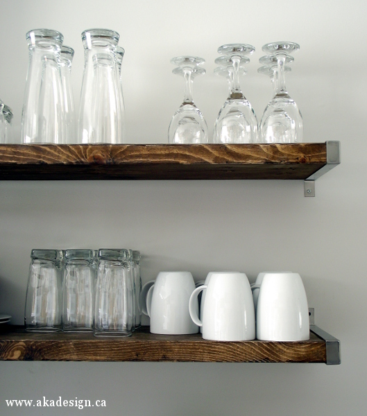 Rustic and industrial open kitchen shelving kellyelko.com