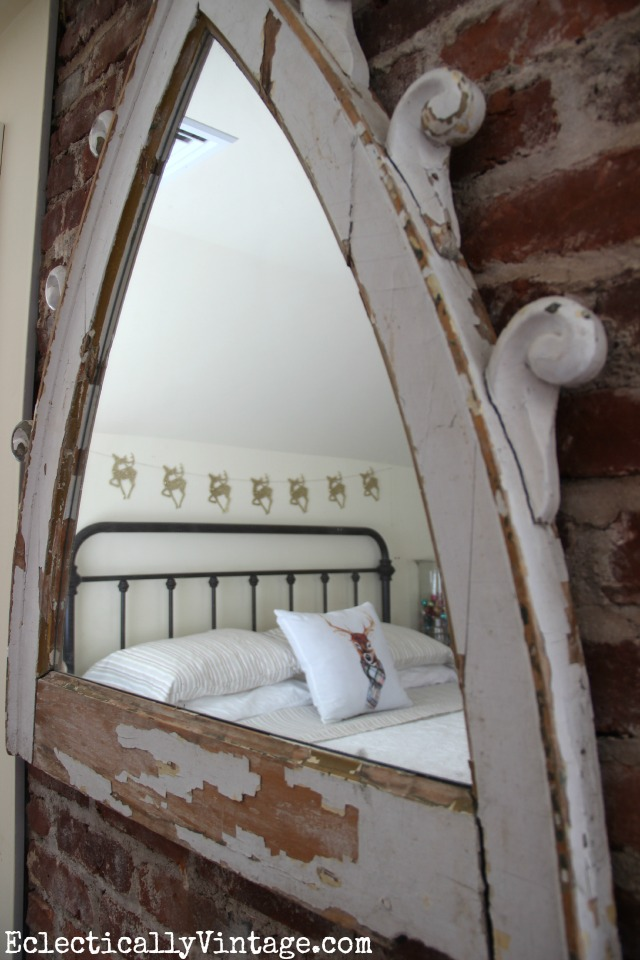 Love this antique architectural piece turned into a mirror kellyelko.com