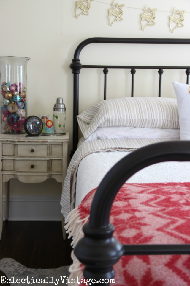 Antique style bed - love the striped bedding too kellyelko.com
