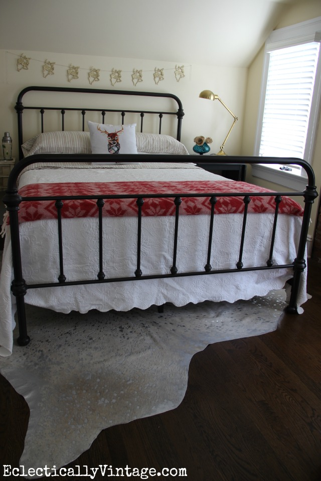 Beautiful vintage style iron bed and guest room kellyelko.com