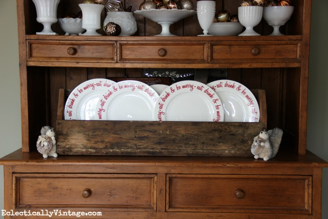 Vintage milk glass and an old toolbox - fun Christmas decorating ideas kellyelko.com