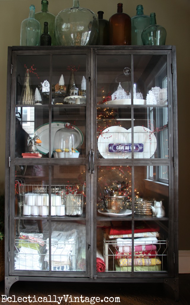 Vintage industrial cabinet - perfect for display (love the Christmas details) kellyelko.com