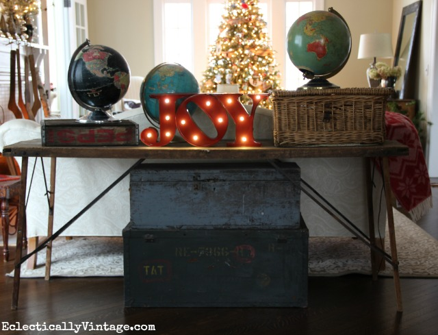 Joy to the World! What a fun Christmas decorating idea - love the marquee sign and the vintage globes kellyelko.com