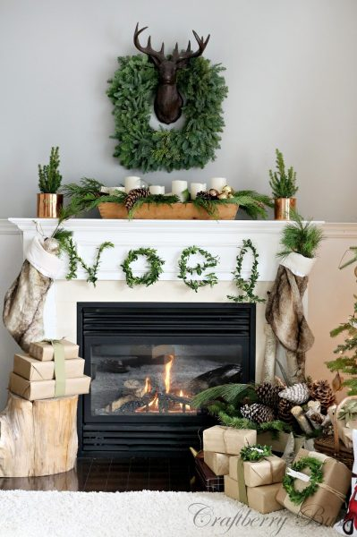 Make a Noel Boxwood sign - what a stunning Christmas mantel kellyelko.com