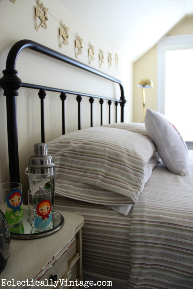 Beautiful bedroom - love the cozy striped flannel sheets kellyelko.com