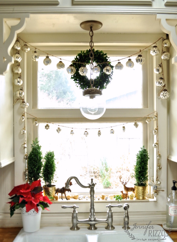 Mercury glass ornament garland - such a pretty Christmas kitchen kellyelko.com