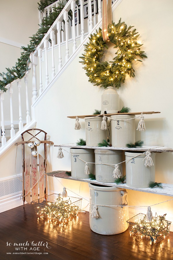 vintage crock christmas tree this is such a cute idea and her entire christmas home - Christmas Decorating Ideas For Foyer