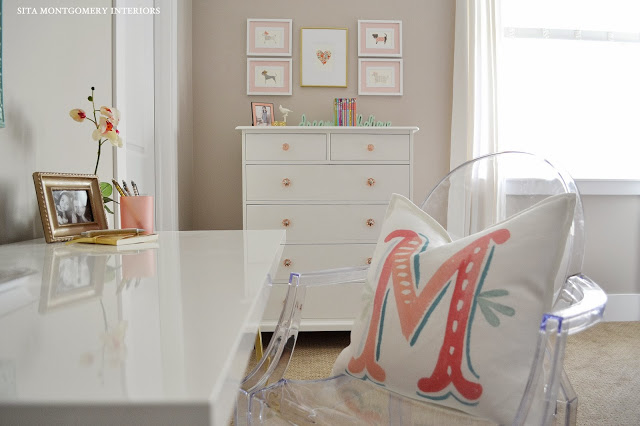 Love this white desk and the ghost chair - the monogrammed pillow is cute too! eclectiallyvintage.com