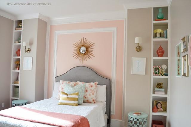 Pink girls bedroom - love the built in shelves flanking the bed kellyelko.com