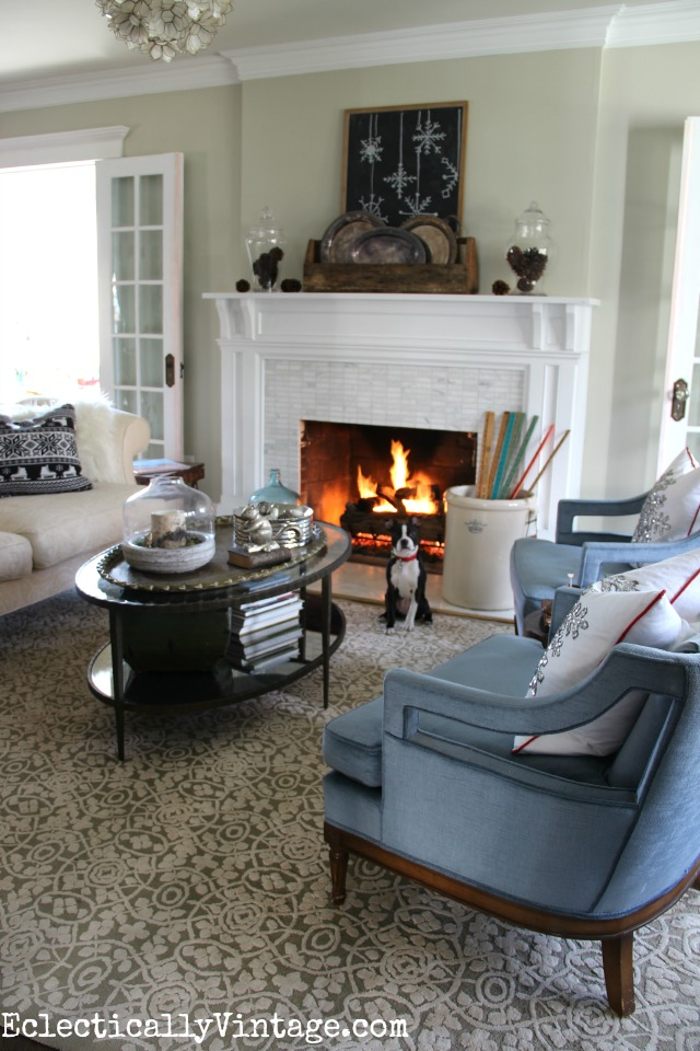 Cozy winter decorating ideas - love the rustic mantel and the roaring fire kellyelko.com