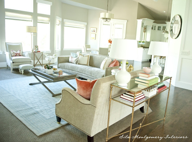 Love this family room layout - and the sofa table with two lamps kellyelko.com