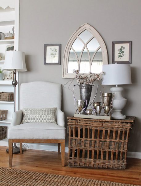 Neutral decorating - love the texture the basket adds kellyelko.com