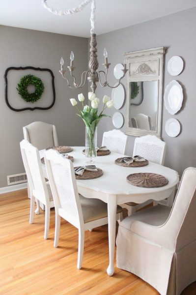 Neutral gray dining room - love the plate wall kellyelko.com