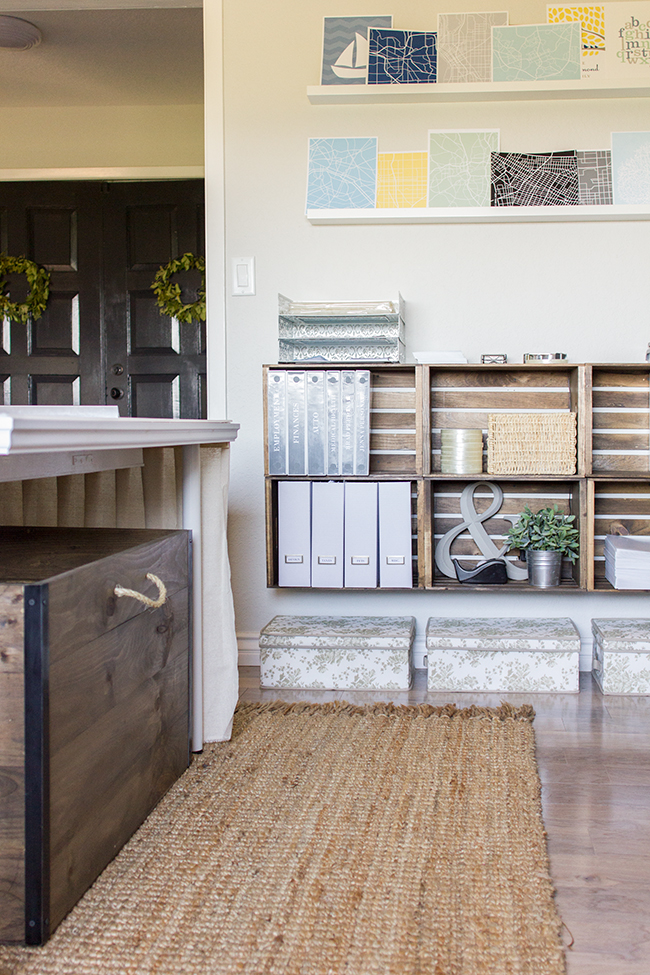 Inexpensive crates become unique storage in this beautiful home office eclecticallyvintage.com