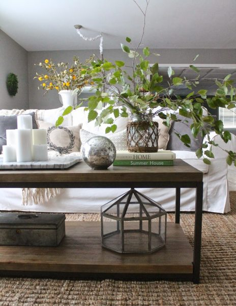 Coffee table styling - love height the branches add kellyelko.com