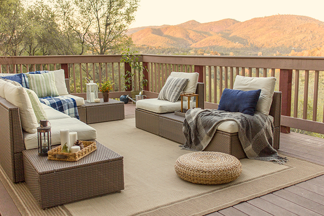 Wow - what a view!  This deck furniture is so inviting and you have to see the inside of this California cottage eclecticallyvintage.com