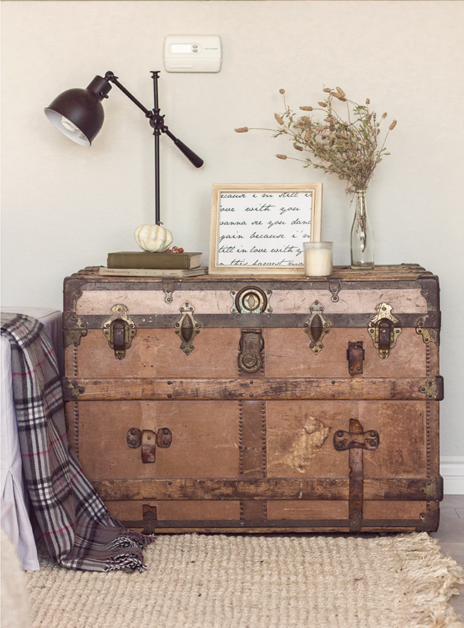 Vintage trunk as a side table - part of this stunning home tour eclecticallyvintage.com