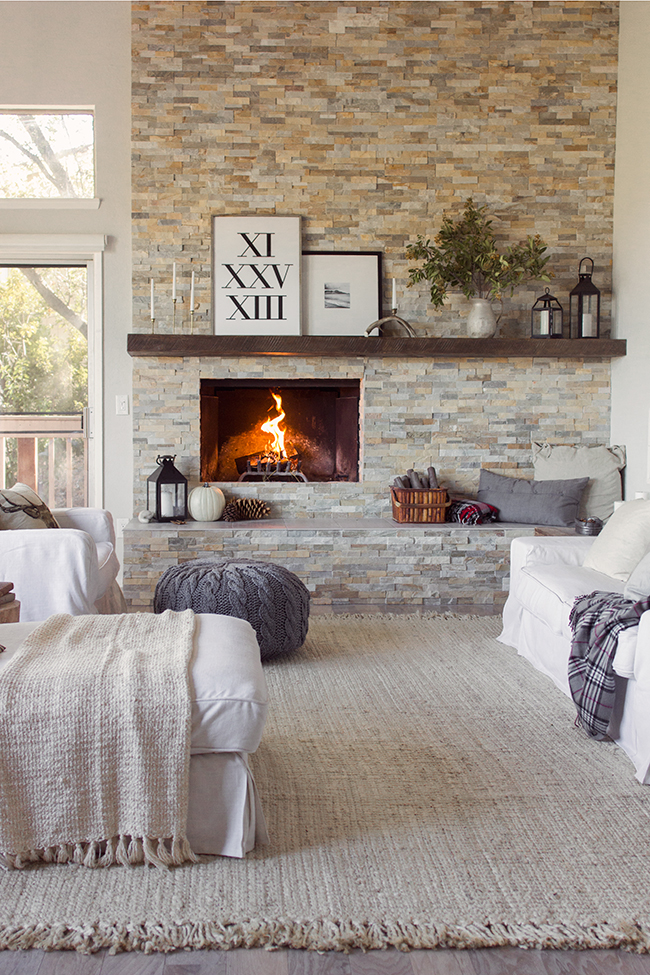 Eclectic Home Tour - Jenna Sue Design - love this gorgeous fireplace focal wall kellyelko.com